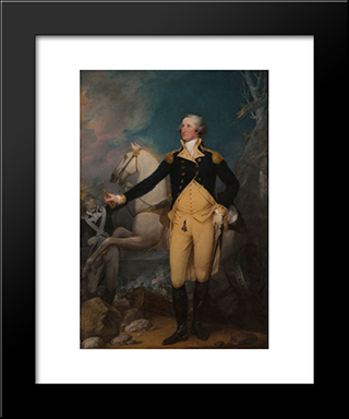George Washington Before The Battle Of Trenton: Modern Black Framed Art Print by John Trumbull