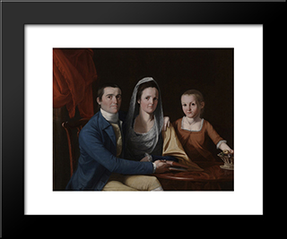 Jonathan Trumbull Jr With Mrs Trumbull And Faith Trumbull: Modern Black Framed Art Print by John Trumbull