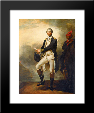 Portrait Of George Washington And William 'Billy' Lee: Modern Black Framed Art Print by John Trumbull