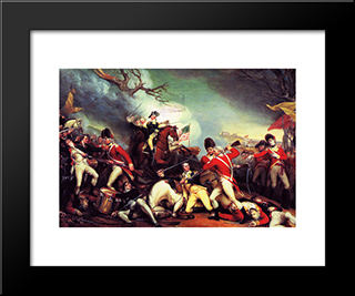 The Death Of General Mercer At The Battle Of Princeton: Modern Black Framed Art Print by John Trumbull