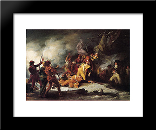 The Death Of General Montgomery In The Attack On Quebec: Modern Black Framed Art Print by John Trumbull