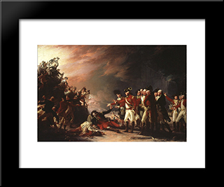 The Sortie Made By The Garrison Of Gibraltar: Modern Black Framed Art Print by John Trumbull