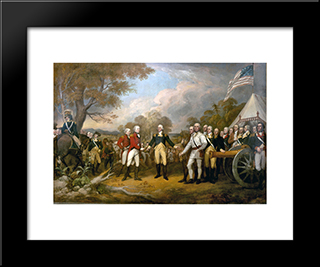 The Surrender Of General Burgoyne: Modern Black Framed Art Print by John Trumbull