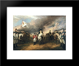 The Surrender Of Lord Cornwallis: Modern Black Framed Art Print by John Trumbull