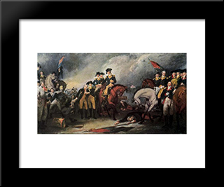 The Surrender Of The Hessian Troops At The Battle Of Trenton: Modern Black Framed Art Print by John Trumbull