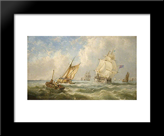 A Breezy Evening Off The Mouth Of The Mersey: Modern Black Framed Art Print by John Wilson Carmichael