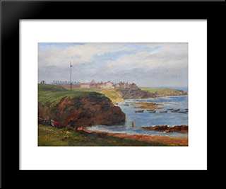 Cullercoats From The South By John Wilson Carmichael: Modern Black Framed Art Print by John Wilson Carmichael
