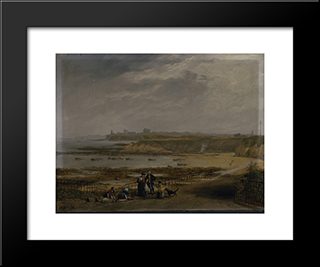 Cullercoats Looking Towards Tynemouth - Ebb Tide: Modern Black Framed Art Print by John Wilson Carmichael