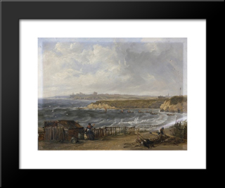Cullercoats Looking Towards Tynemouth - Flood Tide: Modern Black Framed Art Print by John Wilson Carmichael