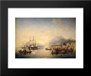 Erebus' And The 'Terror' In New Zealand, August 1841: Modern Black Framed Art Print by John Wilson Carmichael