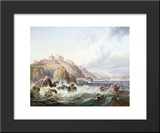 Fishing Boats Off Scotland By John Wilson Carmichael: Modern Black Framed Art Print by John Wilson Carmichael