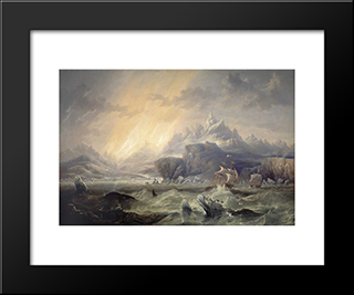 Hms Erebus And Terror In The Antarctic: Modern Black Framed Art Print by John Wilson Carmichael