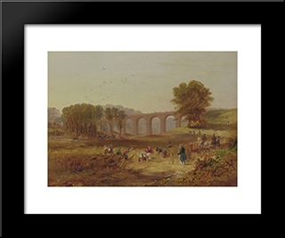 John Wilson Carmichael - Corby Viaduct, The Newcastle And Carlisle Railway: Modern Black Framed Art Print by John Wilson Carmichael
