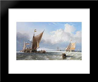 Off The Dutch Coast: Modern Black Framed Art Print by John Wilson Carmichael