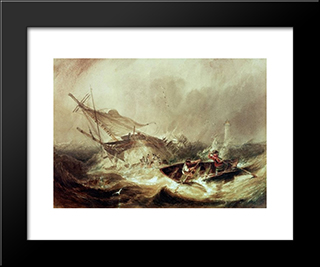 Rowing To Rescue Shipwrecked Sailors Off The Northumberland Coast: Modern Black Framed Art Print by John Wilson Carmichael