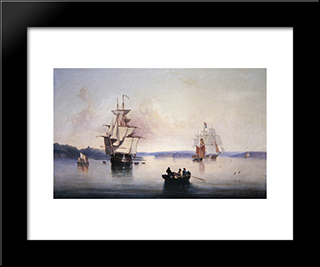 Saltash Creek- Near Plymouth: Modern Black Framed Art Print by John Wilson Carmichael