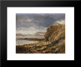 Shields From The Harbour Mouth: Modern Black Framed Art Print by John Wilson Carmichael
