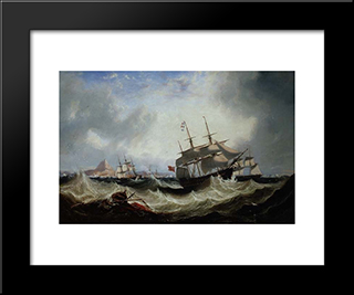 Shipping Off Gibraltar In Heavy Seas: Modern Black Framed Art Print by John Wilson Carmichael