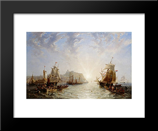 Shipping Off Scarborough: Modern Black Framed Art Print by John Wilson Carmichael