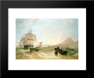 Squadron Of Frigates And Fishing Vessels In A Choppy Sea Off Holy Island: Modern Black Framed Art Print by John Wilson Carmichael