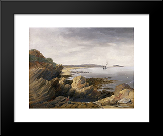St. Mary'S Island From Whitley Rocks: Modern Black Framed Art Print by John Wilson Carmichael