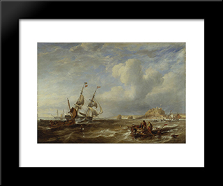 The 78-Ton Brigantine 'The Advocate' Off St. Helier, Jersey: Modern Black Framed Art Print by John Wilson Carmichael