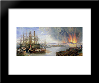 The Bombardment Of Sebastopol: Modern Black Framed Art Print by John Wilson Carmichael