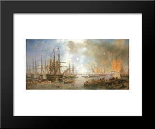 The Bombardment Of Sveaborg, 9 August 1855: Modern Black Framed Art Print by John Wilson Carmichael