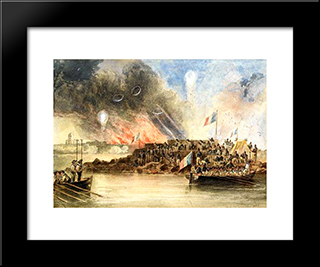 The Bombardment Of Sveaborg, In The Baltic, 9 August 1855: Modern Black Framed Art Print by John Wilson Carmichael