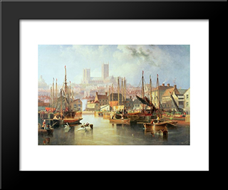 The Brayford Pool And Lincoln Cathedral: Modern Black Framed Art Print by John Wilson Carmichael