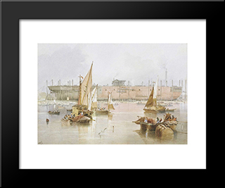 The Building Of The Ss 'Great Eastern': Modern Black Framed Art Print by John Wilson Carmichael