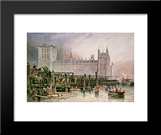 The Houses Of Parliament In Course Of Erection: Modern Black Framed Art Print by John Wilson Carmichael