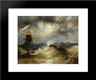 The Irwin Lighthouse, Storm Raging: Modern Black Framed Art Print by John Wilson Carmichael