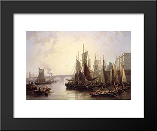 The Pool Of London: Modern Black Framed Art Print by John Wilson Carmichael