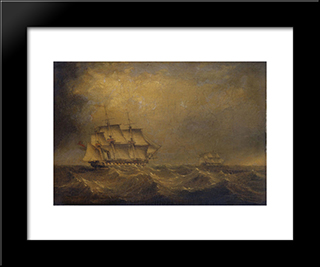 The Pursuit: Modern Black Framed Art Print by John Wilson Carmichael