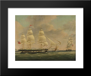 The Ship Isabella At Sea: Modern Black Framed Art Print by John Wilson Carmichael
