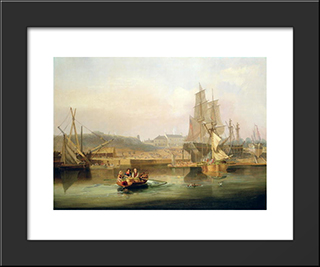 The Shipyard At Hessle Cliff: Modern Black Framed Art Print by John Wilson Carmichael