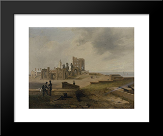 Tynemouth Priory From The East: Modern Black Framed Art Print by John Wilson Carmichael
