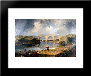 Victoria Bridge Over The River Wear: Modern Black Framed Art Print by John Wilson Carmichael