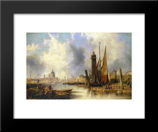 View Of London With St. Paul'S: Modern Black Framed Art Print by John Wilson Carmichael