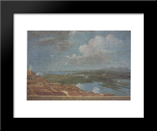 Clouds Over A Coastal Puerto Rican Town: Modern Black Framed Art Print by Jose Campeche