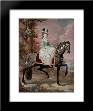Dama A Caballo: Modern Black Framed Art Print by Jose Campeche