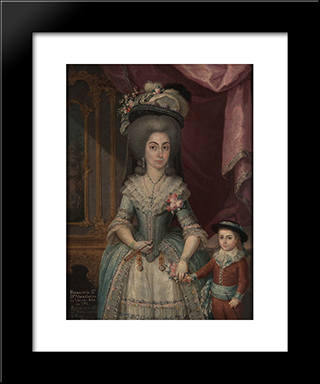 Dona Mar­a Catalina De Urrutia: Custom Black Wood Framed Art Print by Jose Campeche