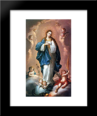 Imaculada Conceico: Custom Black Wood Framed Art Print by Jose Campeche