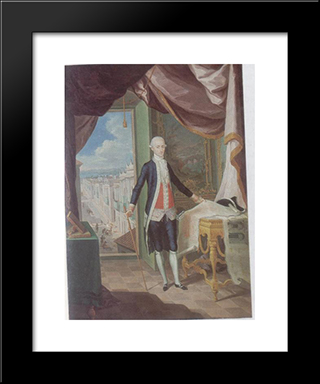 Retrato Del Governador Don Miguel Antonio De Ustariz: Modern Black Framed Art Print by Jose Campeche