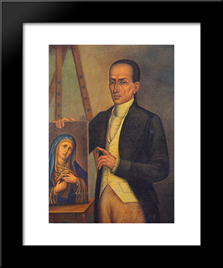 Self-Portrait: Modern Black Framed Art Print by Jose Campeche