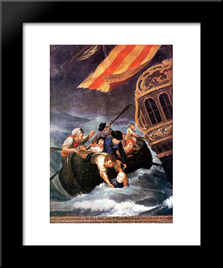 The Rescue Of Don Ramon Power Y Giralt: Modern Black Framed Art Print by Jose Campeche
