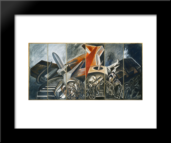 Dive Bomber And Tank: Modern Black Framed Art Print by Jose Clemente Orozco