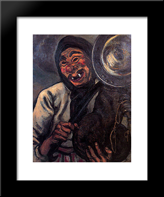 A Mask: Modern Black Framed Art Print by Jose Gutierrez Solana