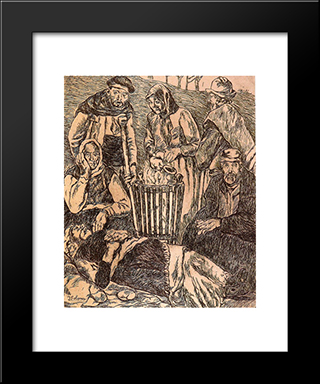Beggars Warming: Modern Black Framed Art Print by Jose Gutierrez Solana